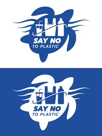 Say no to plastic banner with blue and white bag Glass bottle made of plastic sign in in turtle sign vector design Vektoros illusztráció