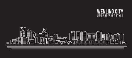 Cityscape Building Line art Vector Illustration design -  Wenling city Stockfoto - 117745835