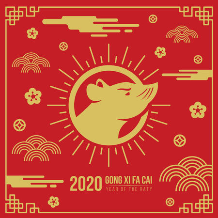 Happy chinese new year greeting card banner with head rat zodiac in circle sun sign and abstract cloud flower coin sign on red background vector design