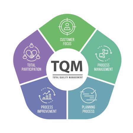 Chat de diagrama de TQM (gestión de calidad total) y diseño de vector de tema de icono Ilustración de vector