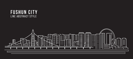 Cityscape Building Line art Vector Illustratie ontwerp - Fushun city Vector Illustratie