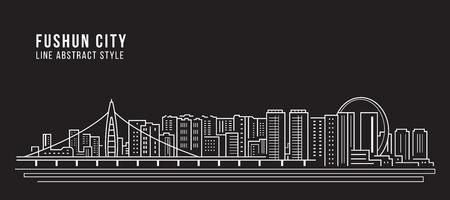 Cityscape Building Line art Vector Illustration design - Fushun city