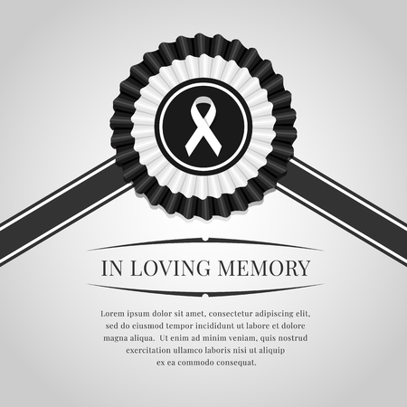 Funeral banner white ribbon sign in black white Rosette Ribbon and in  loving memory text Иллюстрация