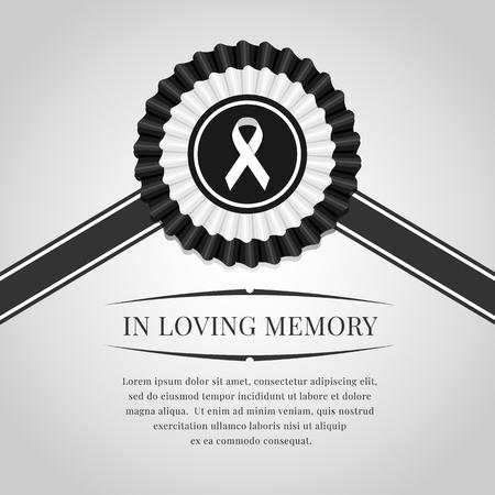 Funeral banner white ribbon sign in black white Rosette Ribbon and in  loving memory text Illustration