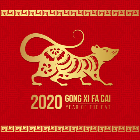 Chinese new year (Gong xi fa cai) 2020 with  gold rat Chinese zodiac sign on red