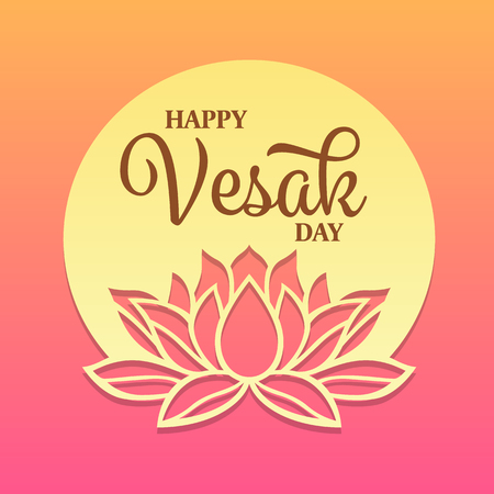 Happy vesak day text on circle full moon and lotus sign banner