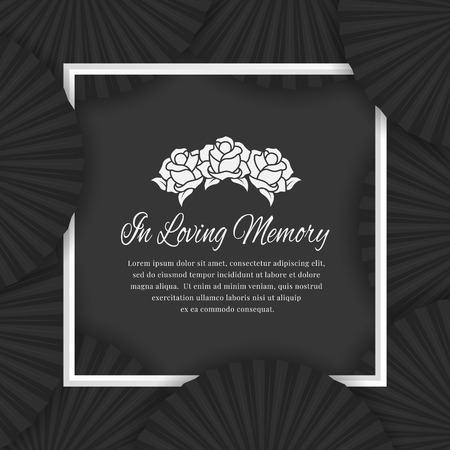 In loving memory text in white frame and abstract black fan layer
