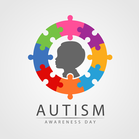 Autism Awareness Day banner with Child in circle colorful jigsaw
