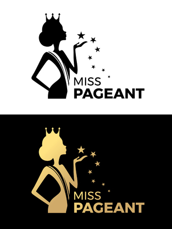 Miss pageant sign with Beauty queen wear a crown and hold star