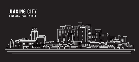 Cityscape Building Line art Vector Illustration design -  Jiaxing city