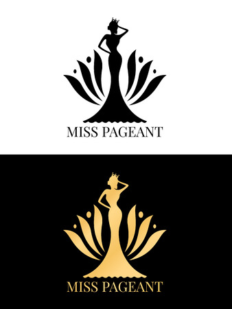 Black and gold Miss pageant  sign with Beauty queen wear a crown and  flower backdrop  イラスト・ベクター素材