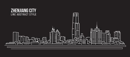 Cityscape Building Line art Vector Illustration design -  Zhenjiang city
