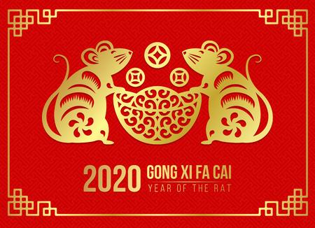 Felice anno nuovo cinese 2020 carta con carta d'oro tagliata a doppio ratto zodiaco tenere soldi moneta lingotto su rosso