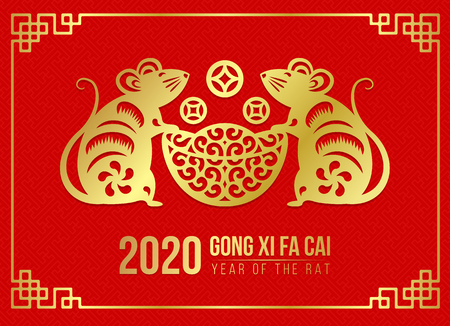 Happy chinese new year 2020 card with Gold paper cut twin rat zodiac hold money coin ingot on red 向量圖像