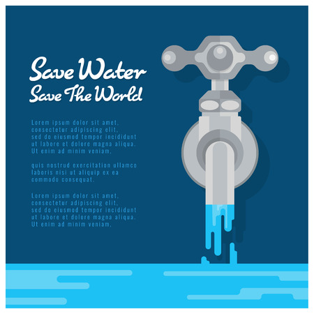 Save water save world banner with water tap are open water Vector Illustration