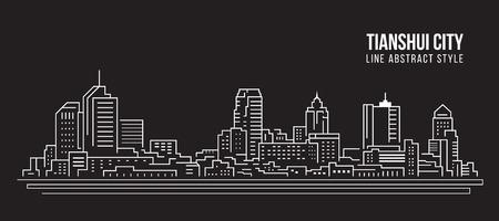 Cityscape Building Line art Vector Illustration design -  Tianshui city Stock Illustratie
