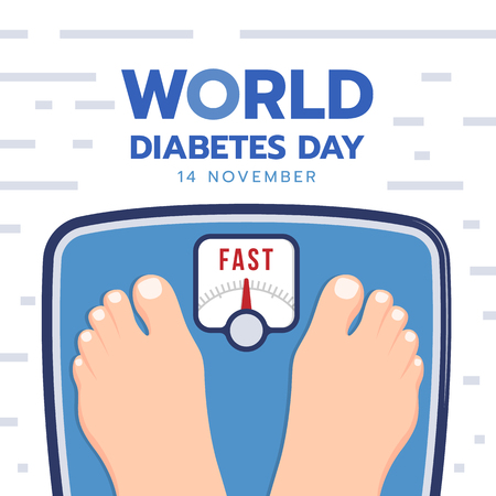 World diabetes day banner with Feet On Weight Checking Machine are fast vector design 向量圖像