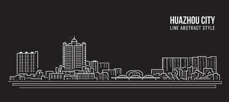 Cityscape Building Line art Vector Illustration design - huazhou city