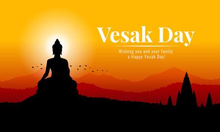 Banner del día de vesak con la silueta de la estatua del Gran Buda en la vista de la montaña en el diseño del vector del tiempo de la tarde Ilustración de vector