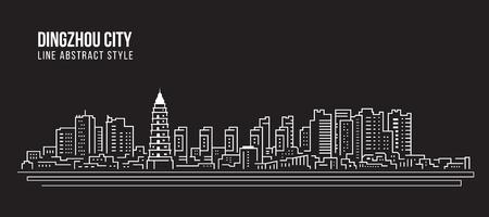 Cityscape Building Line art Vector Illustration design - Dingzhou city