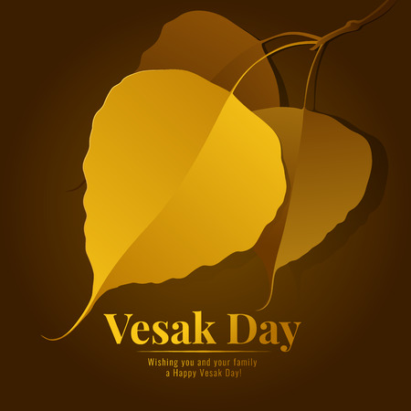 Vesak day banner with gold bodhi leaf branch vector design