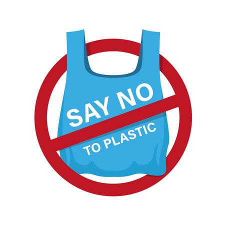 say no to plastic text on blue plastic bag in red stop circle sign vector design Stock Illustratie