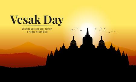 bannière du jour de vesak avec le temple bouddhiste Silhouette de Borobudur et vue sur la montagne dans la conception vectorielle de l'heure du soir Vecteurs