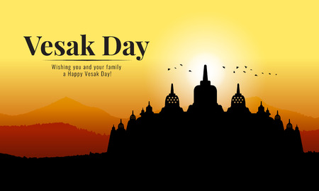 vesak day banner with Silhouette Buddhist Temple of Borobudur and mountain view in evening time vector design