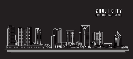 Cityscape Building Line art Vector Illustration design - Zhuji city