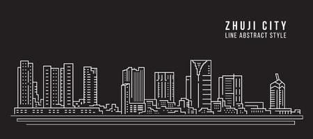 Paisaje urbano Edificio de la Línea de arte de diseño de ilustración vectorial - La ciudad de Zhuji
