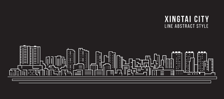 Cityscape Building Line art Vector Illustration design -  Xingtai city Çizim