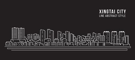 Cityscape Building Line art Vector Illustration design -  Xingtai city  イラスト・ベクター素材