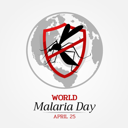 World malaria day banner with stop Mosquito in red Shield Sign and earth background vector design