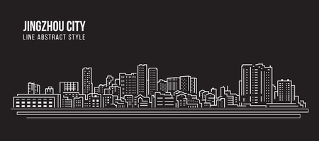 Cityscape Building Line art Vector Illustration design -  Jingzhou city