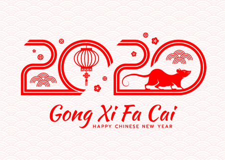 Happy chinese new year card wit hred 2020 text number of year and rat zodiac lantern vector design