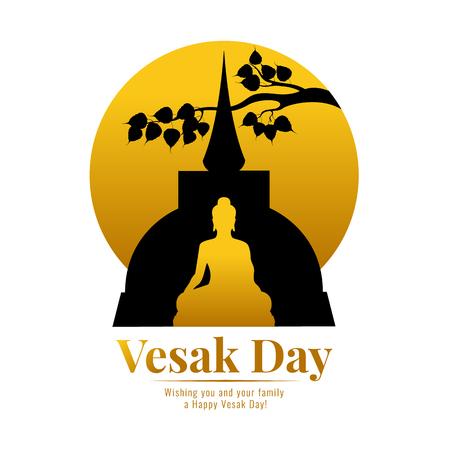Banner de feliz día vesak con templo de Buda de oro, rama de hoja de bodhi y diseño de vector de luna llena de círculo