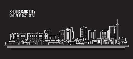 Cityscape Building Line art Vector Illustration design -  Shouguang city Stock Illustratie