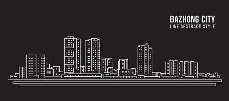 Cityscape Building Line art Vector Illustration design -  Bazhong city Stockfoto - 120479003