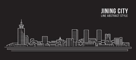 Cityscape Building Line art Vector Illustration design -  jining city