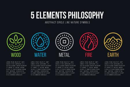 Línea de círculo de filosofía de cinco elementos frontera y línea discontinua conjunto de iconos de diseño vectorial