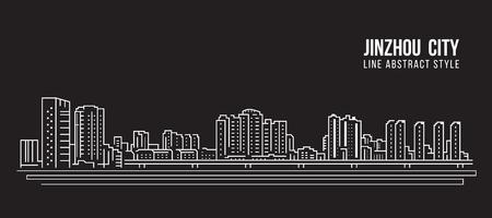 Cityscape Building Line art Vector Illustration design - Jinzhou city
