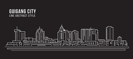 Cityscape Building Line art Vector Illustration design -  Guigang city