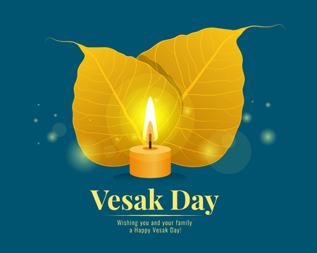 Vesak day banner with gold bodhi leaf and Light candle on blue background vector design