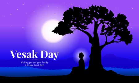 Happy vesak day with Buddha meditation under Bodhi Tree in full moon night vector design