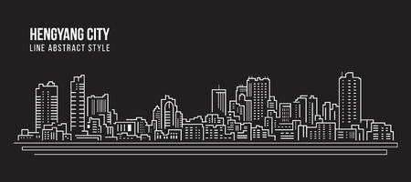 Cityscape Building Line art Vector Illustration design -  Hengyang city Stock Illustratie