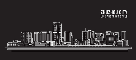 Cityscape Building Line art Vector Illustration design -  Zhuzhou city Stockfoto - 121191683