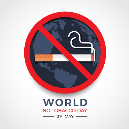 World no tobacco day banner with  red circle stop tobacco sign on earth texture Vettoriali