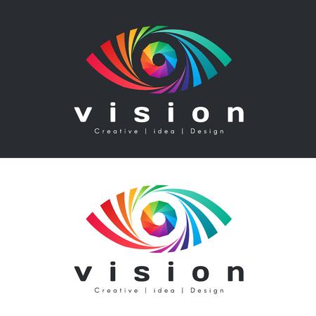 Eye vision  with abstract colorful rainbow eye on dark and white Illusztráció