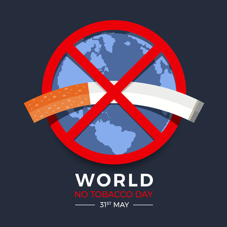 World no tobacco day banner with red circle no tobacco sign on earth texture
