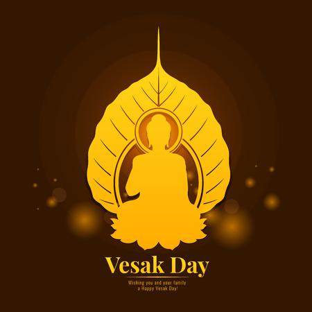 Vesak day banner with  gold Buddha in bodhi leaf sign Illustration